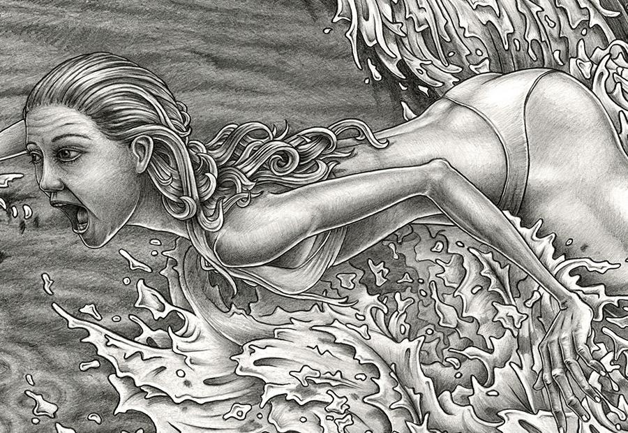 Surf art. Zeinung einer Surferin auf einer Welle.