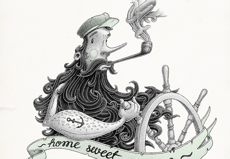 Home sweet ocean. Art print. Illustration zeigt einen Seemann am Steuer.