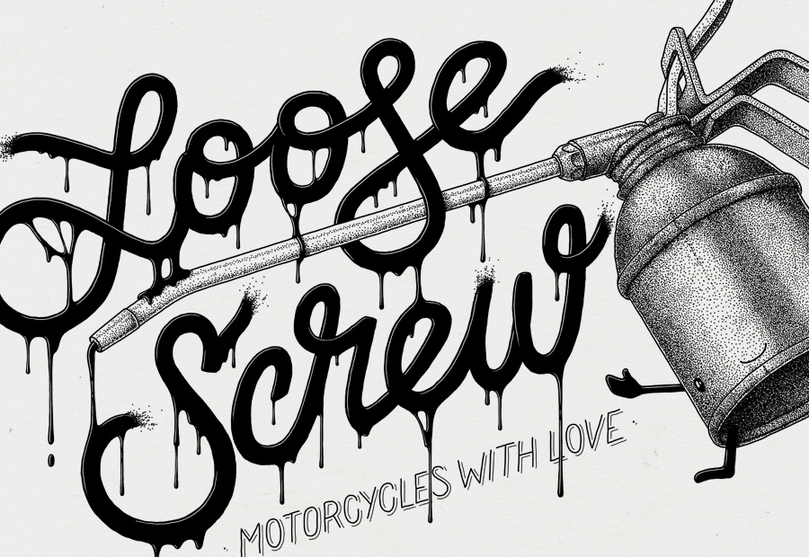 Loose Screw. Custom Motorräder. Shirt Aufdruck hinten. Motorcycles with love. Illustration.