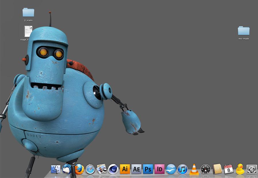 MacBot Comic-Charakter Roboter. Auf dem Desktop. 3d Animation.