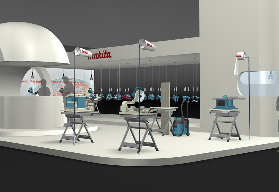 Makita Design Messestand. 3d Rendering.
