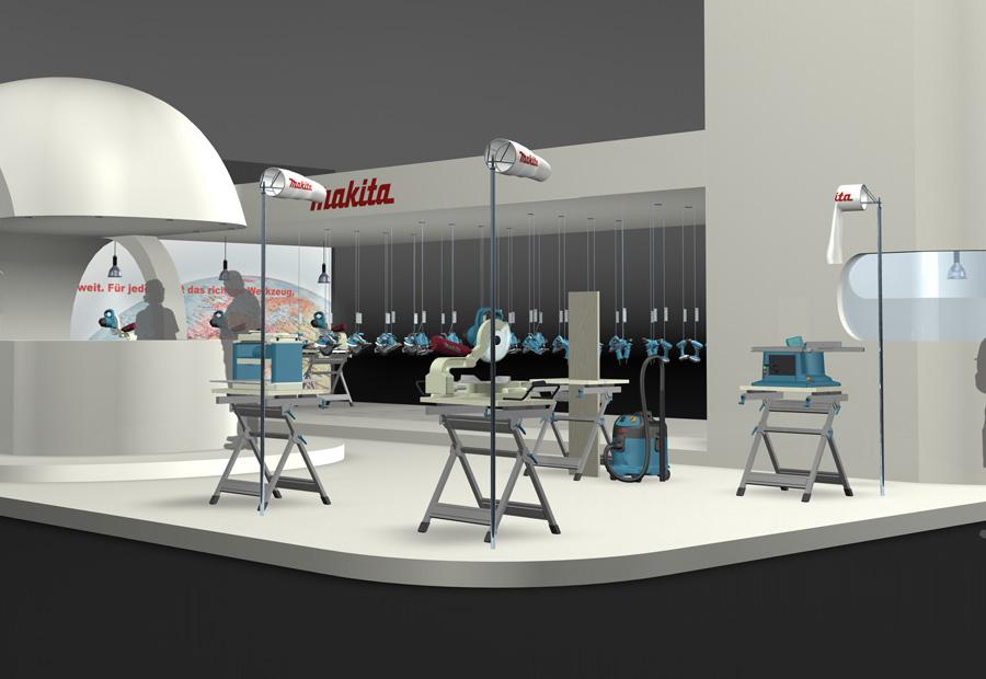 Makita Design Messestand. 3d Rendering.