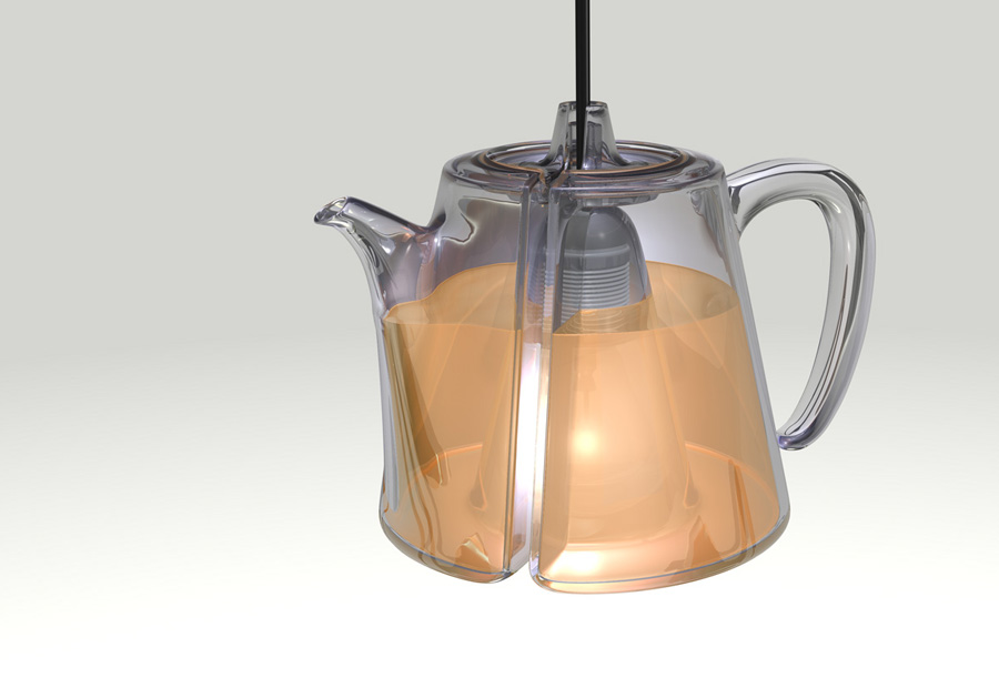 Parasitären Teekanne. Produktdesign. Hängelampe