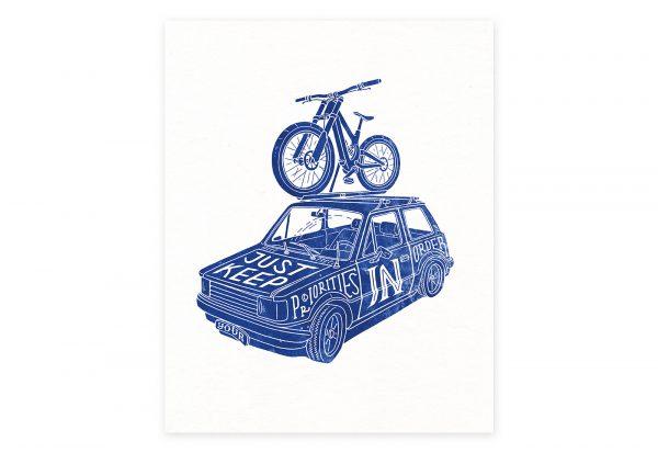 Priorities. Mtb art. Illustration eines Dounhill Fahrrad auf dem Dach eines alten Autos.