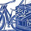 Priorities. Mtb art. Illustration eines Dounhill Fahrrad auf dem Dach eines alten Autos. Detail