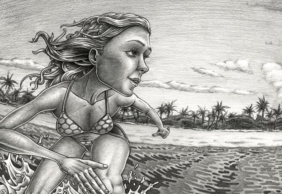 Surf art. Zeinung einer Surferin in einer Welle aus Sicht der Welle. Im Hintergdrund ein Strand mit Palmen. Detail.