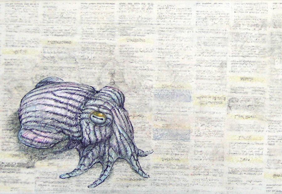 Zeichnung einer Sepie auf Leinwand. Mischtechnik. Detail.