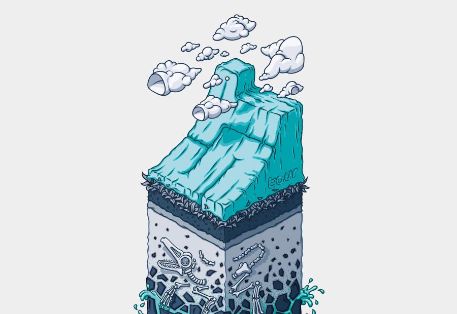 Sick Trick Tour Illustration. Querschnitt durch die Erde