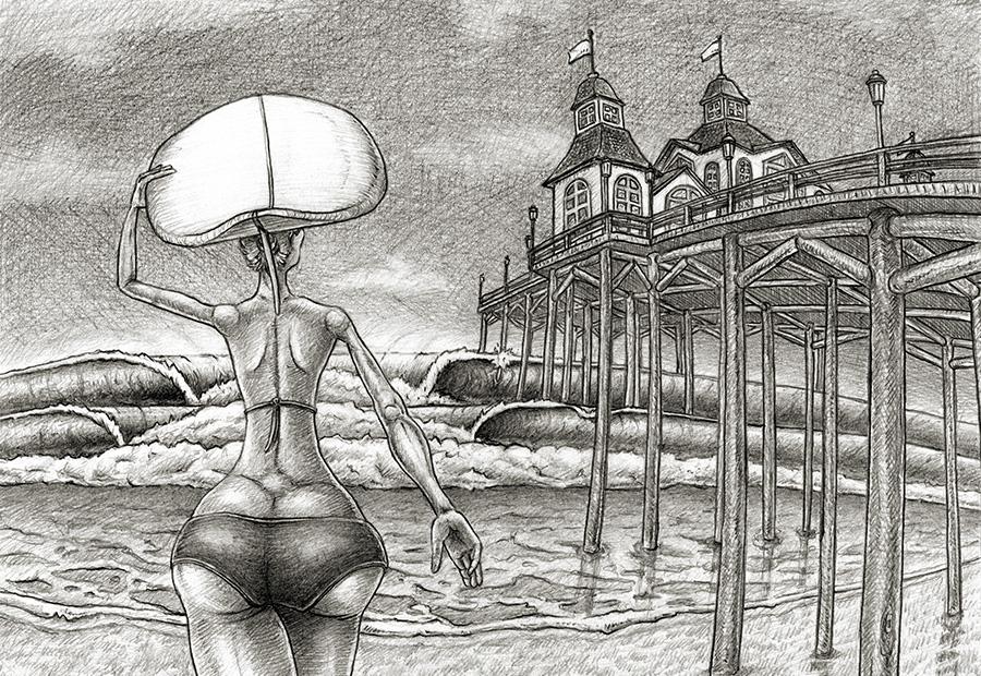 Surf art. Zeichnung einer Surfering neben einem Pier