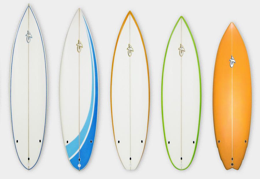 Verschiedene Surfbretter. Shortboards