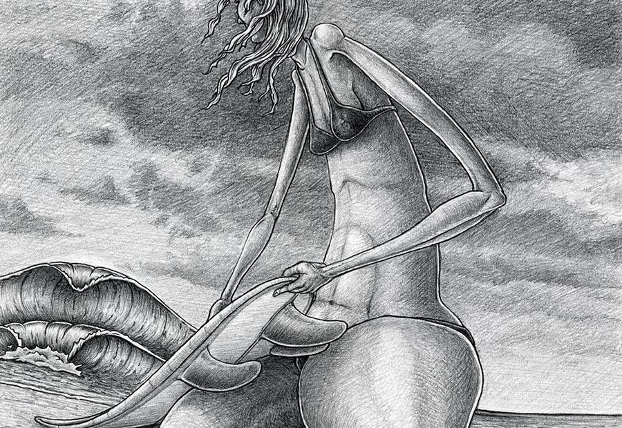 Surf art. Zeichnung einer Surferin beim Waxen ihres Surfboards, am Strand