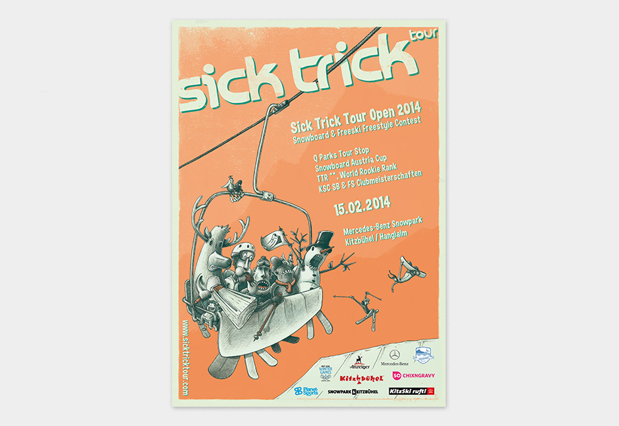 Sick Trick Tour Plakat 2014. Illustration zeigt Comic-Charakter. Snowboard und Freeski Freaks sitzen im Sessellift.