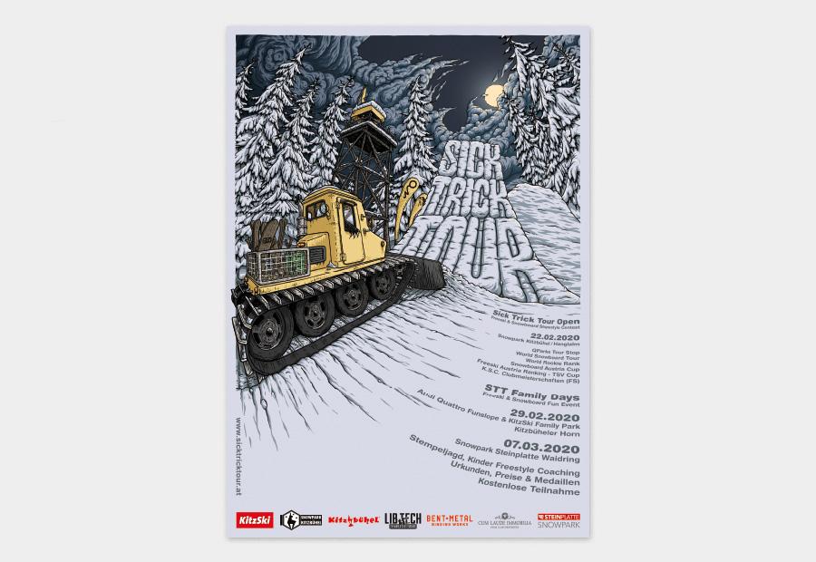 Sick Trick Tour Plakat 2020. Illustration zeigt eine Pistenraupe und einen Kicker bei Nacht.